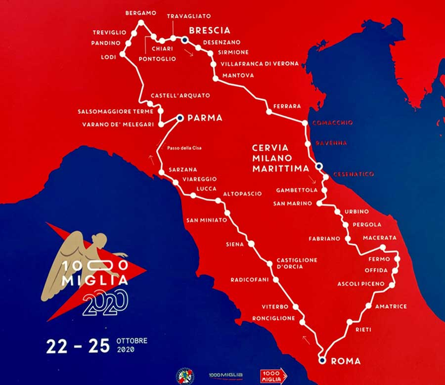 The entire route goes from Brescia across the Adriatic Sea to the Eternal City to Rome and back again via Siena, Parma to Brescia in just 4 days and 1,000 miles over the most beautiful roads in Italy.