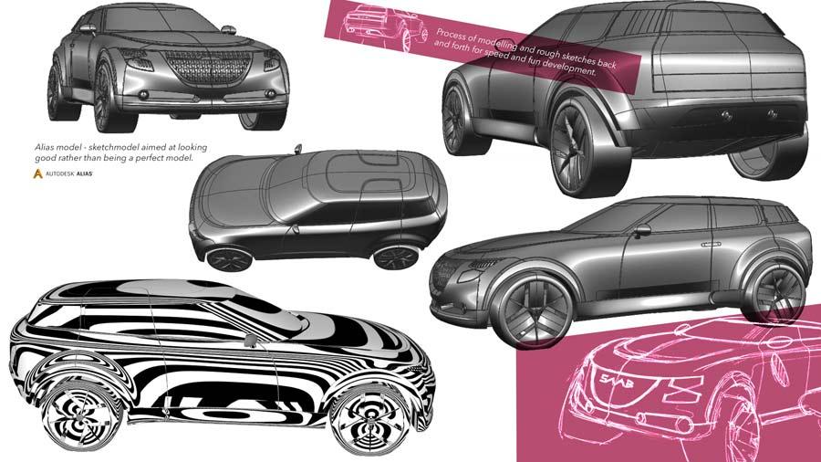 Saab 9 - The creation of a 3D model follows