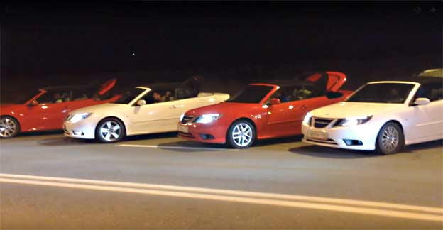 Four Saab 9-3 Convertibles at one place