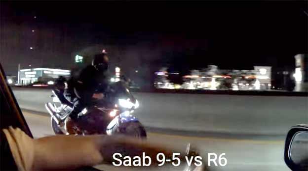 Saab 9-5 500hp vs. Yamaha R6