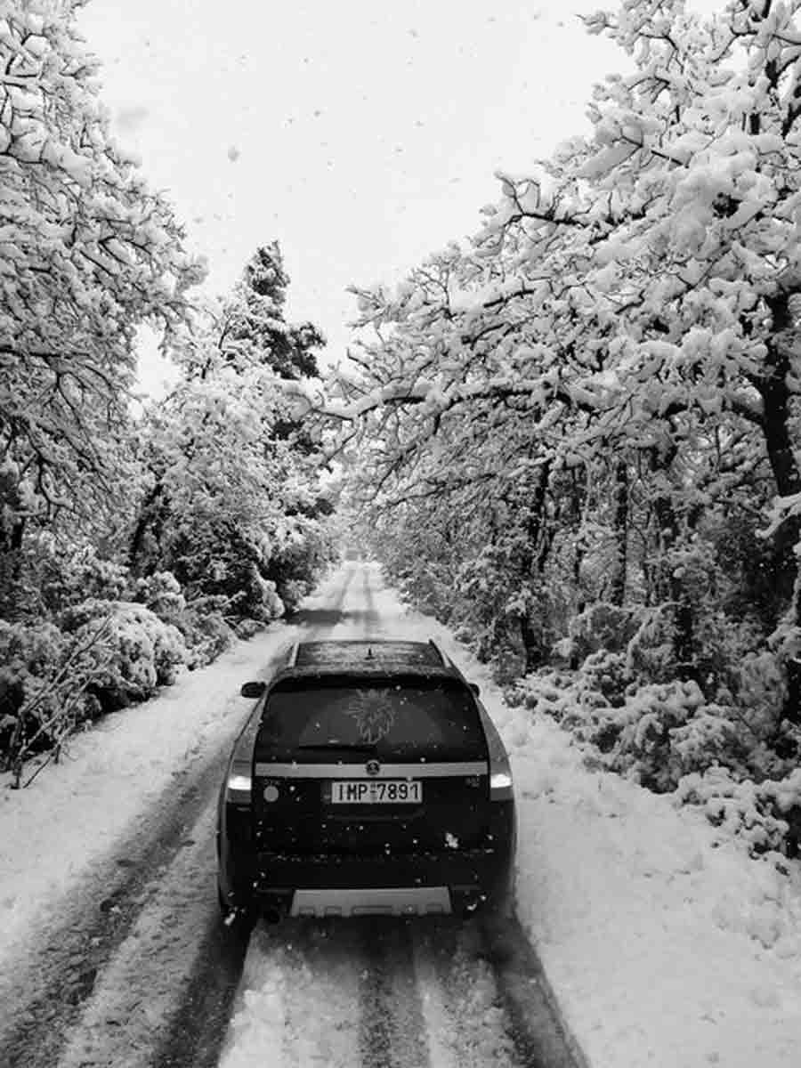 Snow in Greece is not typical, but Alex managed to find it for his Saab 9-3x