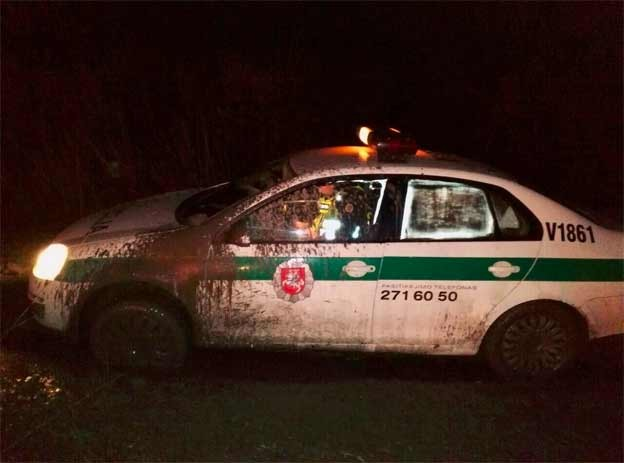 The Police  officers got stuck in mud too