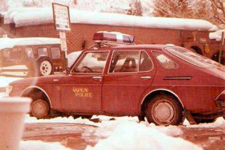 Only in Aspen would you see Saab police vehicles! C. 1979