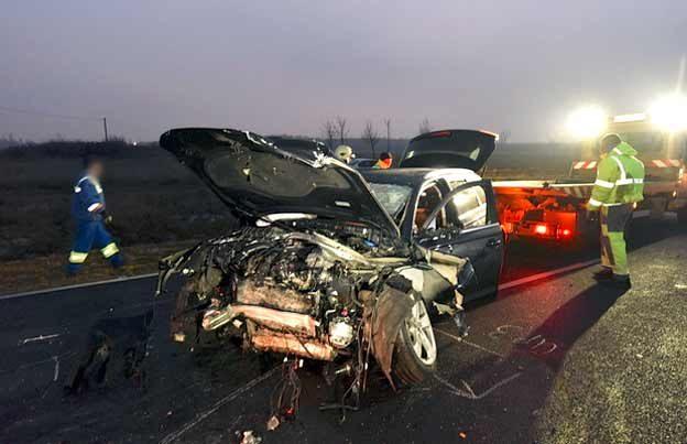 Audi's wreck after crash