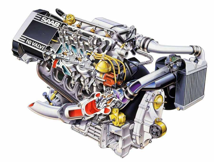 Saab B202 engine, 2-liter, 16-valve, turbocharged and intercooled, slant four cylinder as fitted on the Saab 900 classic.
