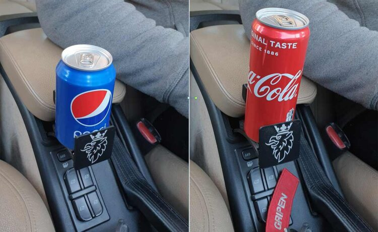 The Custom Cupholder mounted with two differnt sized standard cans.