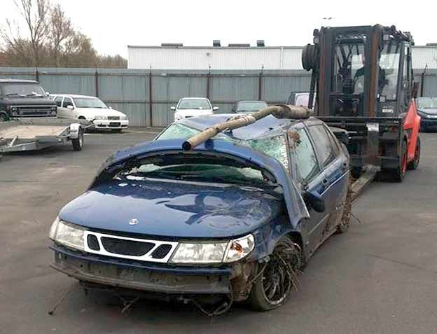 Crashed Saab 9-5
