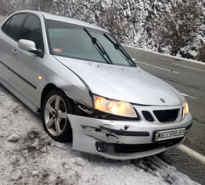 Crashed Saab front-end