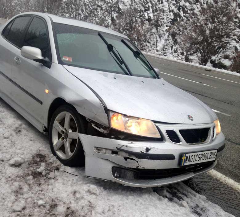 Crashed Saab front-end