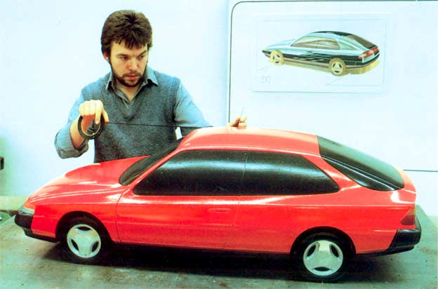 Designer Geoff Wardle and 1998 Saab 9-3 Mk1 prototype
