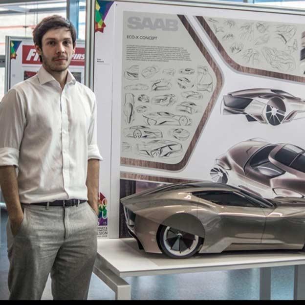 Designer Drew Whittock with his Saab Eco-x Concept