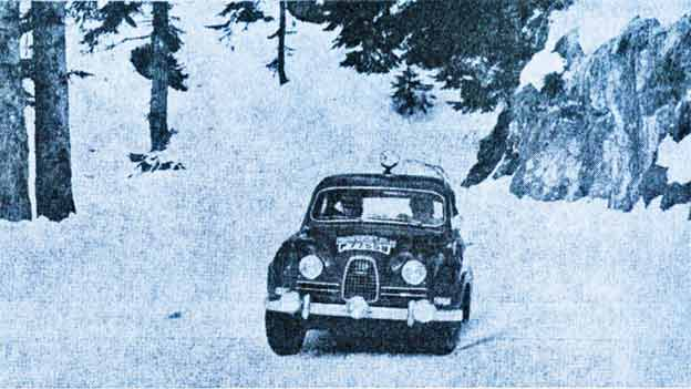 Erik Carlsson (with co-driver Gunnar Palm) on the way to a second Monte Carlo Rally victory