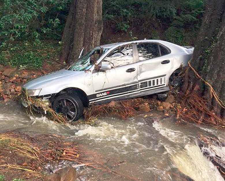 Flooded Saab in Australia
