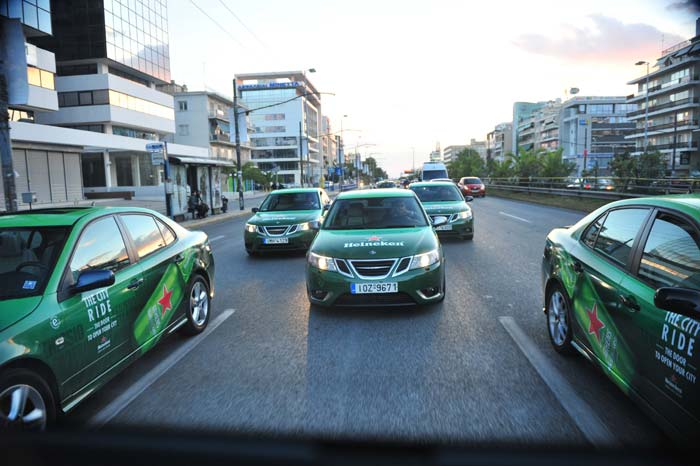 SAAB in new Advertising campaign for Heineken in Athens!