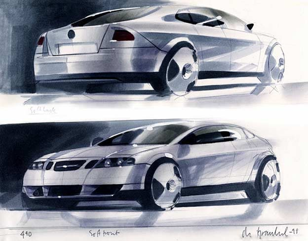 Initial sketches from 1997explored a coupe-like profile with long wheelbase