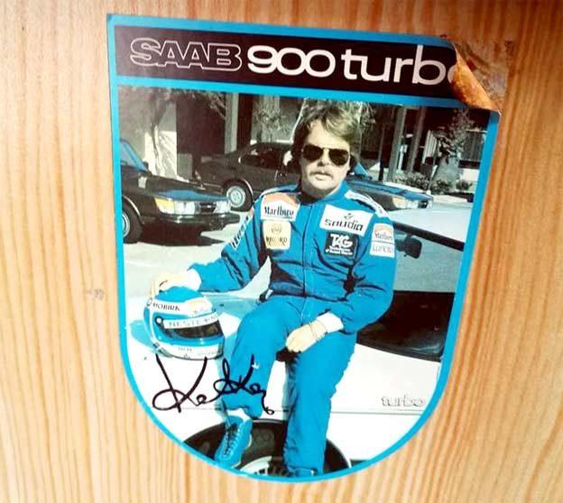 Keke Rosberg sticker with Saab 900 Turbo
