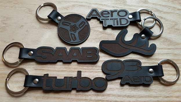 Leather SAAB Inspired Keyrings