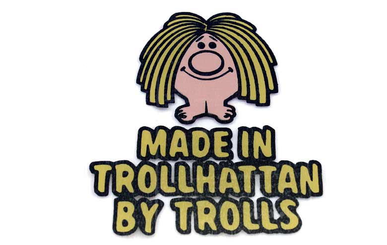 """Saab - Made in Trollhättan by Trolls"" Stickers"
