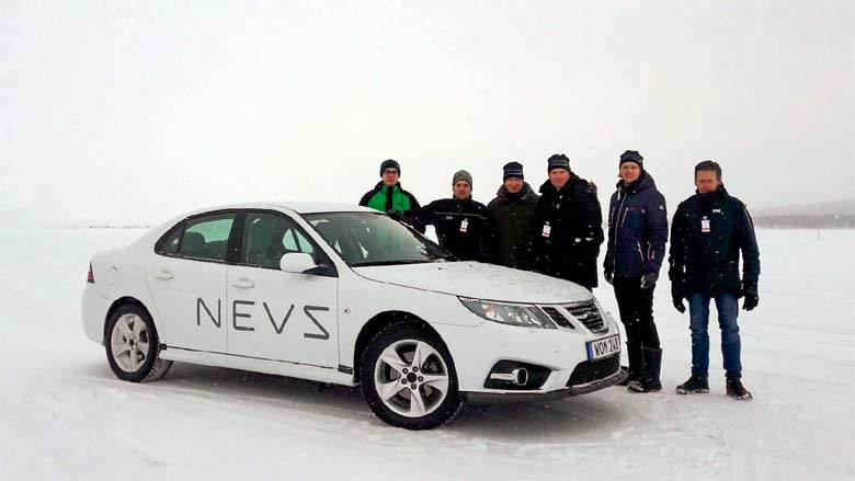 NEVS testing team on the snow test field