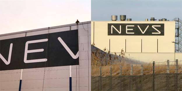 New NEVS sign on the ex-Saab factory building