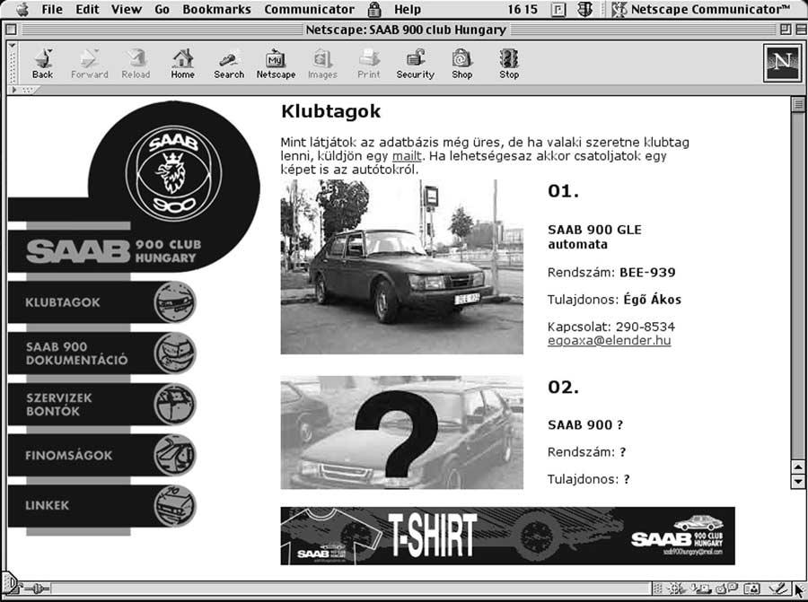 The Screenshot of SAAB 900 Klub web page in Netscape Communicator