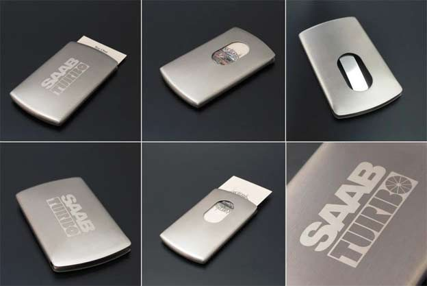 SAAB TURBO Push Type Stainless Steel Name Card Case