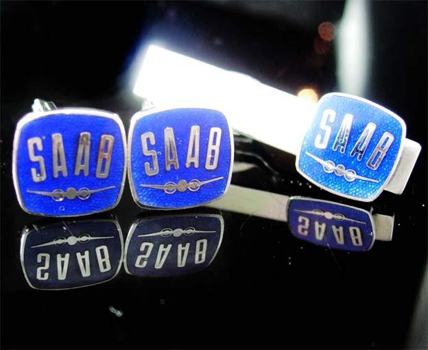 SAAB enamel cufflinks Vintage Tie clip
