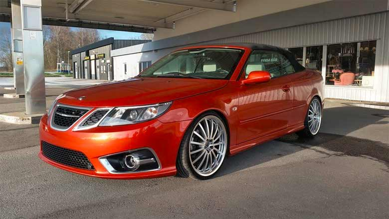 "Beautiful Saab 9-3 Convertible in ""Sunset Orange effect"" color"