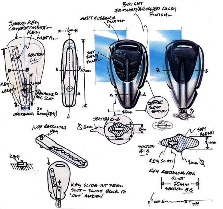 Saab 9-3 Key Fob design sketch by Jordan Bennett