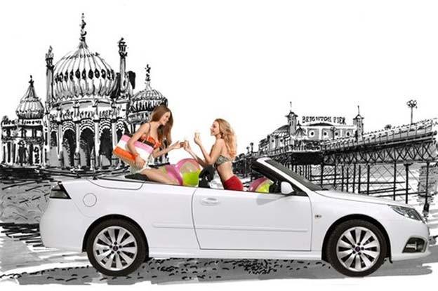 Saab 9-3: Take me to the beach