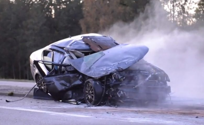 Saab 9-3 after accident in sweden