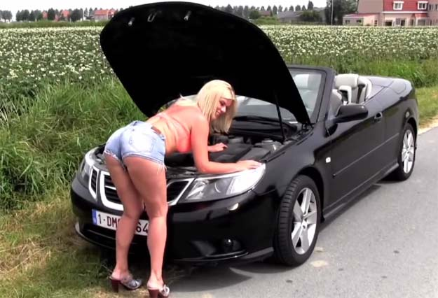 Saab 9-3 Convertible and Blonde Beauty Betty