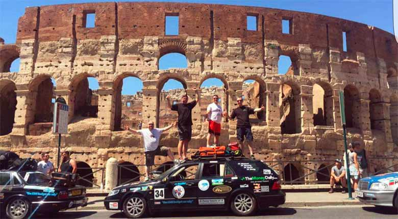 Saabrina the Saab team with Saab 9-5 in Rome