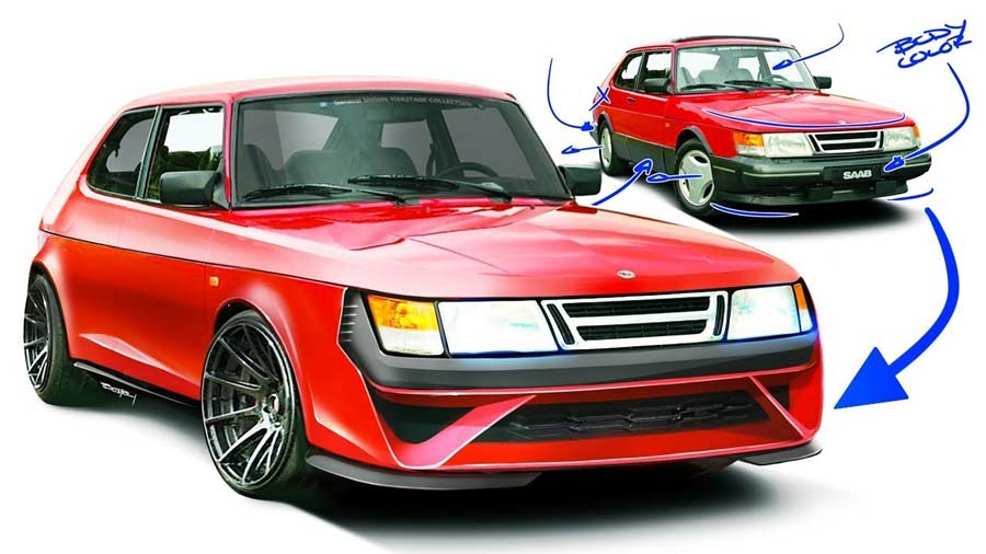 How to Disfigure a Classic Saab 900 in 13 minutes