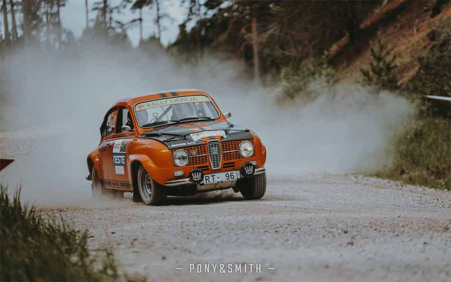 Saab 96 in rally action