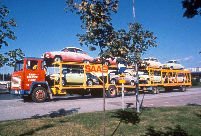 Saab 96 leaving the factory