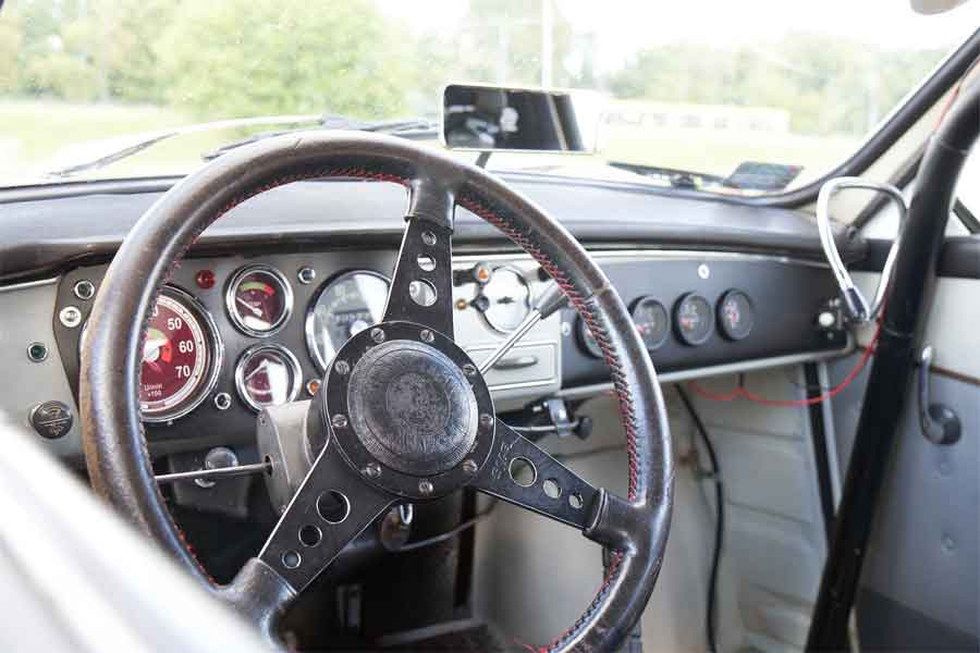 Saab interior with roll cage
