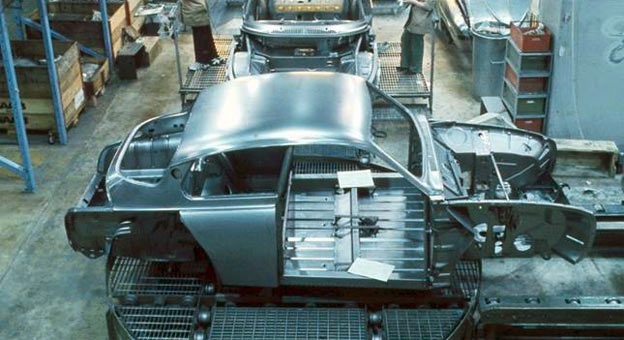Saab 96 in Valmet Automotive Body Shop (1973)