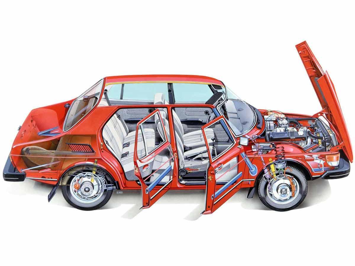 Saab 99 Cutaway Drawing