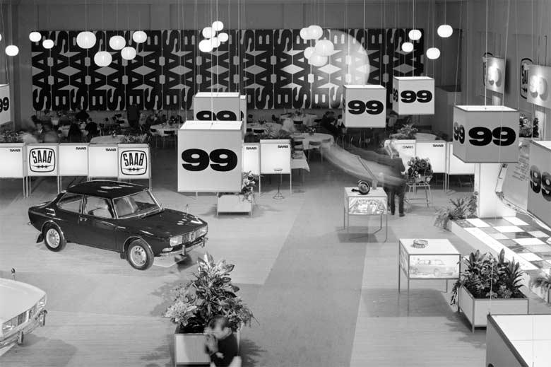 Saab 99 was introduced on November 22, 1967, at Teknorama in Stockholm (photo: Atterberg, Magnus, Public Domain)