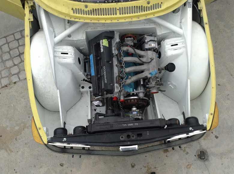 Saab 99 Race project - engine bay