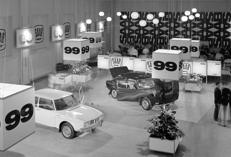 Saab 99 was introduced on November 22, 1967, at Teknorama in Stockholm (photo: Atterberg, Magnus, Public Domain)