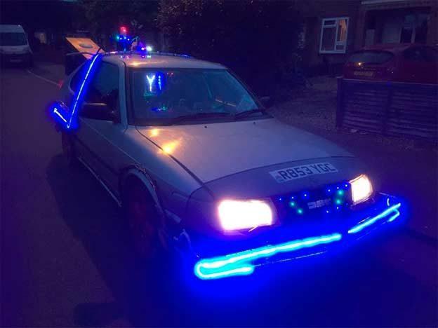 Saab DeLorean at Night