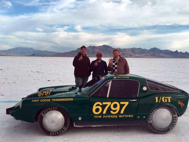 Record-breaking Saab Sonett at Bonneville Salt Flats