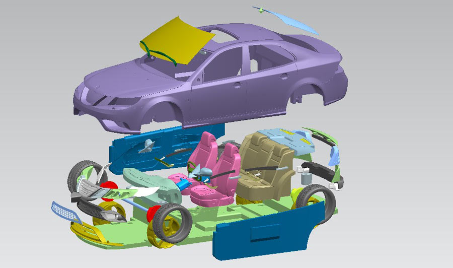 Turbo X in 3D with all the parts.