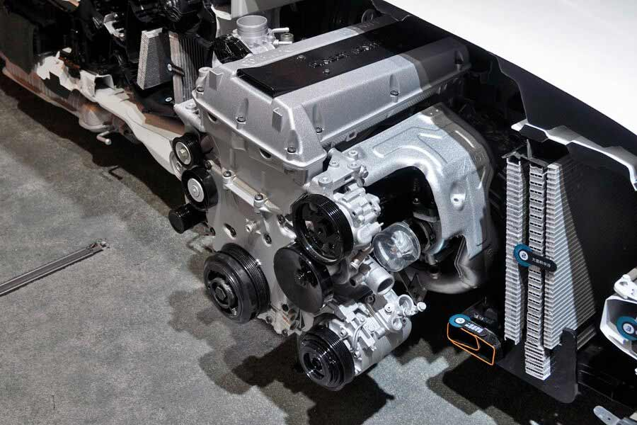 The recognizable Saab engine, presented in the Chinese performance sedan