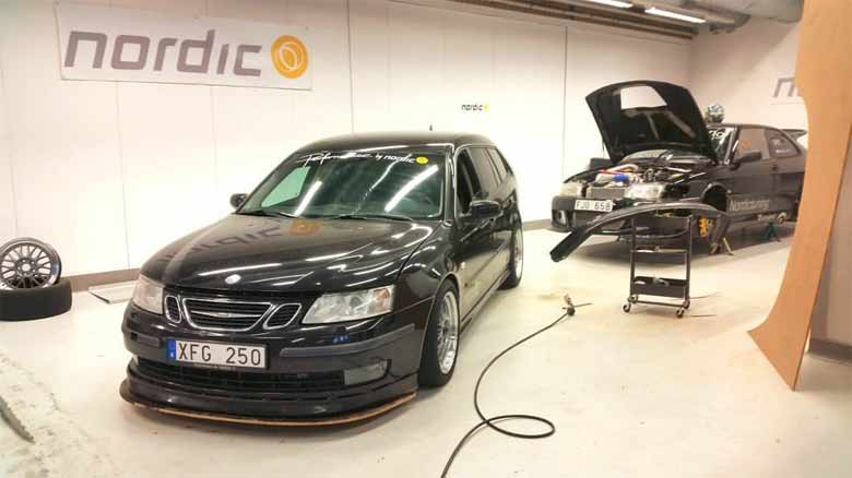 New custom Saab front lip-splitter by Nordic Tuning