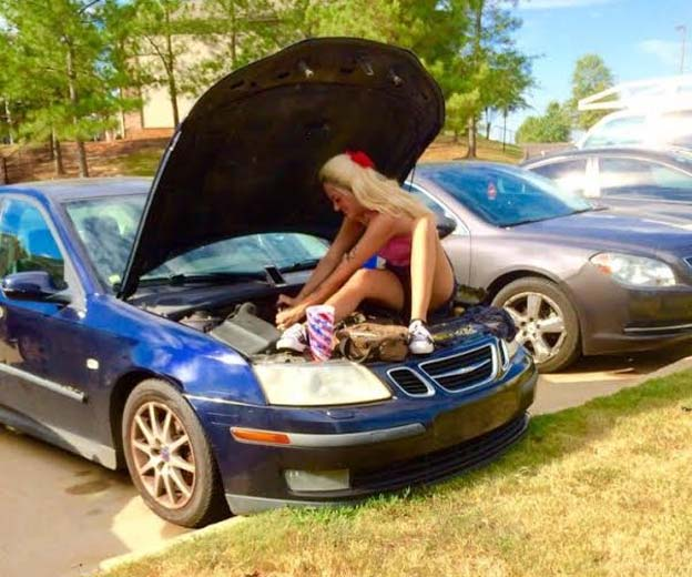 Saab girl mechanic