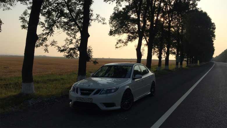 Saab in Sunset