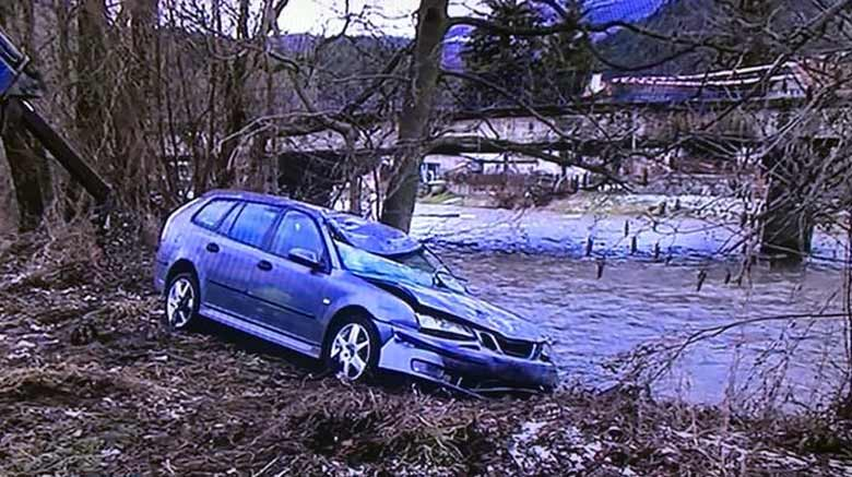 Saab afert fall into river